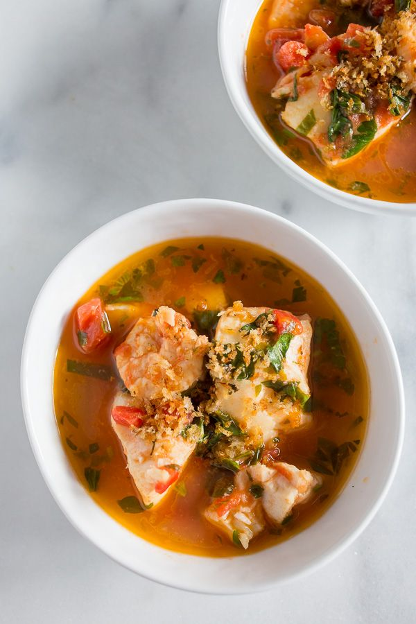 This 20 minute seafood stew has a light broth made from tomatoes, garlic, fresh herbs and white wine. Plus it's packed full of fresh cod and shrimp.