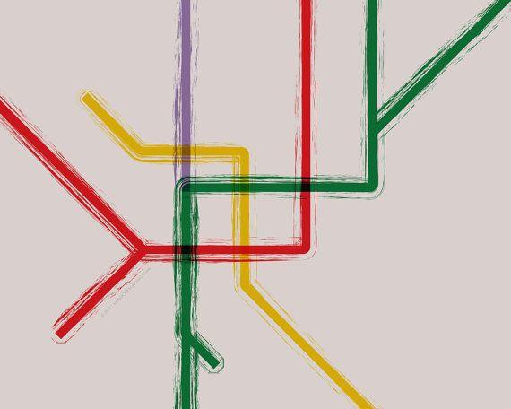 Milan Metro Map Gallery Wrap Canvas  36x30 by bigNICKELgraphics, $290.00
