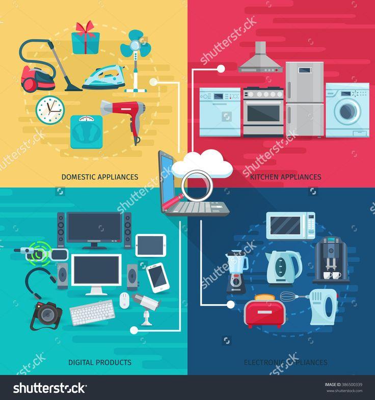 Household Icons Composition Square Concept Стоковые фотографии 386500339 : Shutterstock