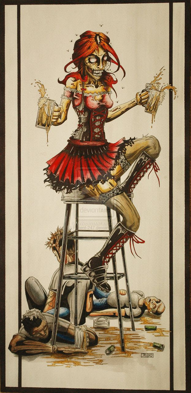 Zombie Beer Girl -FULL-SIZE- by *Jay-Allen-Hansen on deviantART