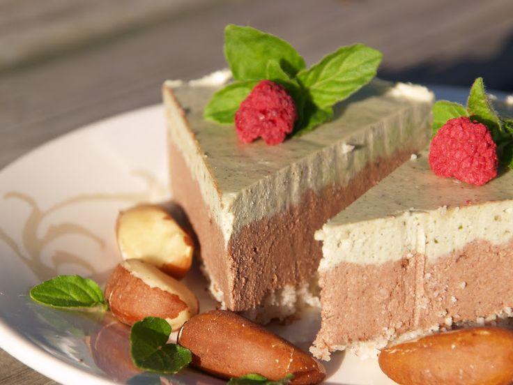 Okriina  postasi jokin aika sitten herkullisen näköisen suklaa-minttukakun. Tein kakun hieman toisenlaisella ohjeella (laiskan kokin versio...