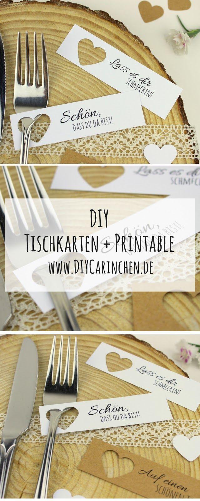 DIY Tischkarten ganz einfach selber machen + 5 kostenlose Vorlagen – ideal für die perfekte Hochzeit – DIYCarinchen – DIY Ideen: Basteln, Geschenke, Deko, und Wohnen