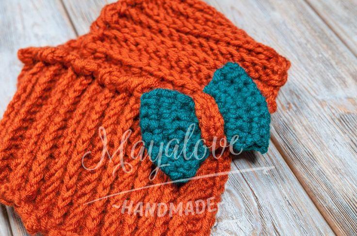 Red, ginger neck warmer for kids  made on crochet