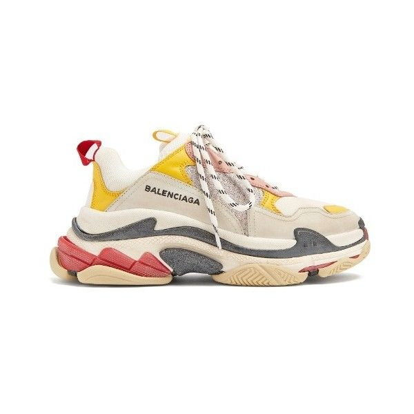 09b64b443 Balenciaga Triple S low-top trainers ($850) ❤ liked on Polyvore featuring  shoes, sneakers, white multi, white low tops, low profile sneakers,  balenciaga, ...