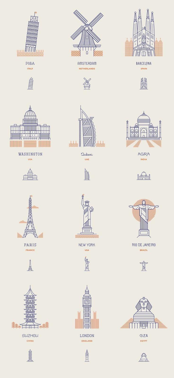 Semiotiek: Voorbeeld van iconische gebouwen en locaties verwerkt tot pictogram.