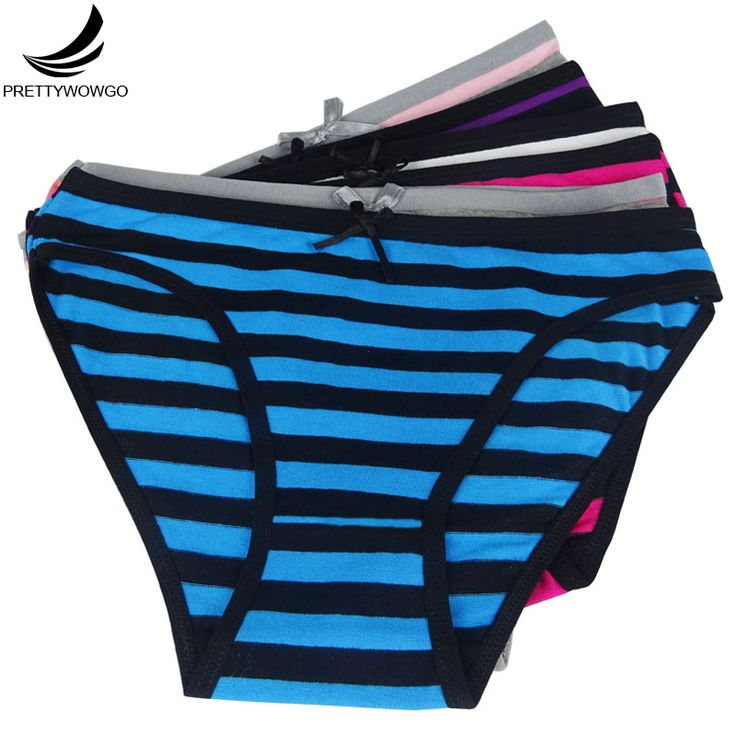 Prettywowgo 6861 Wowogo Garment Wholesale 2016 New Cotton Women Striped Cotton Briefs Underwear