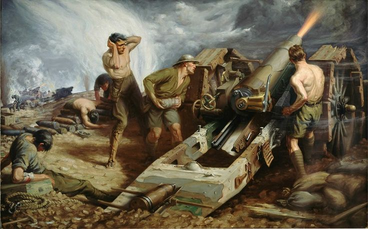"""""""Canadian artillery in action"""", Kenneth Keith Forbes"""