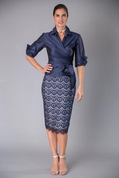 Lace Pencil Skirt - Navy 2