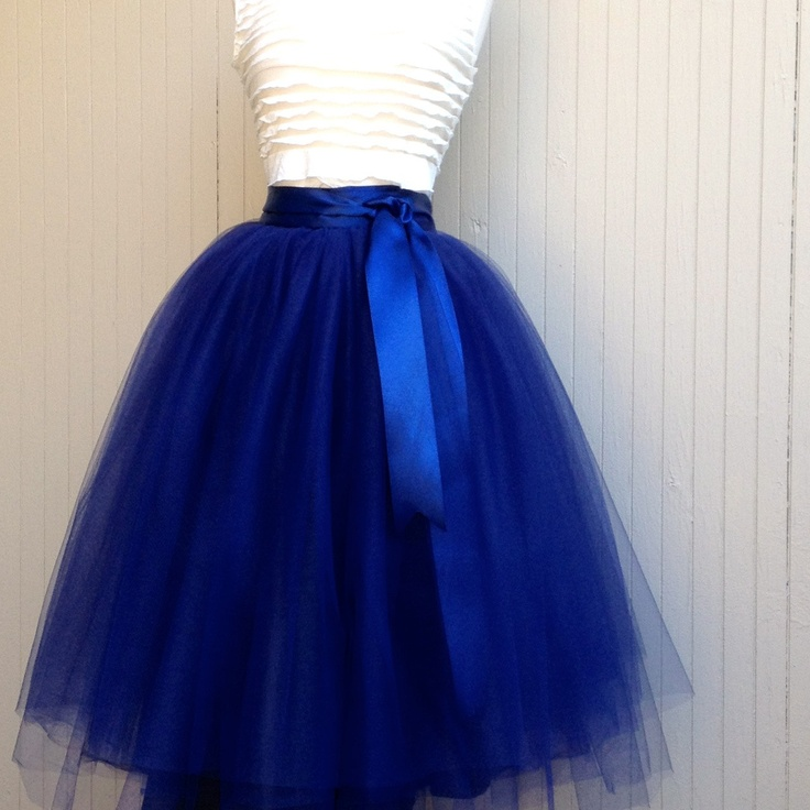 Navy blue tulle skirt tutu for women lined in black satin with a navy satin ribbon waist. Fall fashion trend.. $165.00, via Etsy.