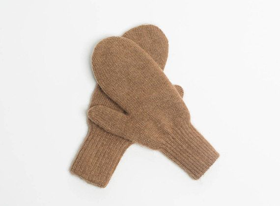 Pure camel wool mittens for adults brown