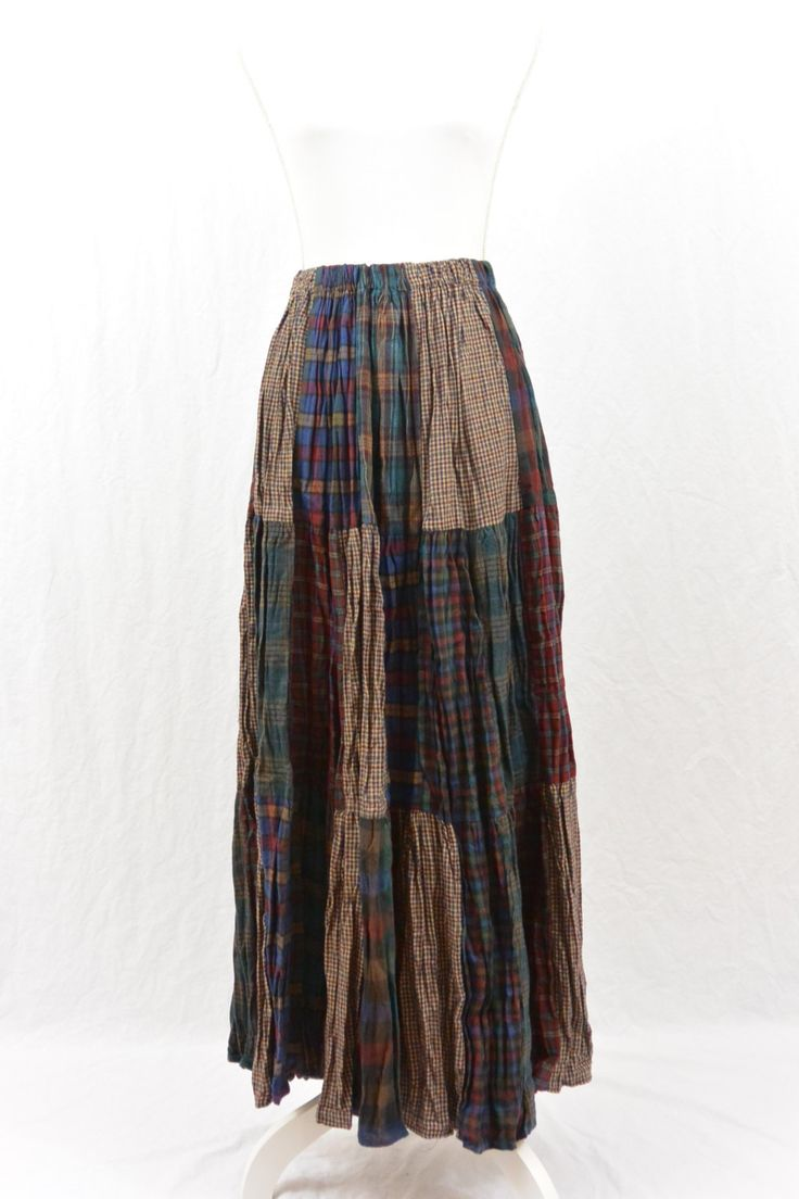 Vintage Flannel Broomstick Skirt, Maxi Skirt, Grunge, 90's Clothing, Mori Girl, Woodland Fairy, Witch, Patched Skirt, Tumblr Clothing, NOS by littleraisinvintage on Etsy
