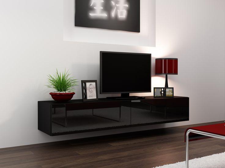Nástěnný tv stolek černý lesk VI180bb | Televizní stolky - Tv stojany a moderní nábytek