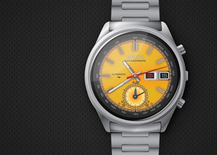 Seiko óra illusztráció (SEIKO 7016-7000 Automatic Chronograph) http://designcraft.hu