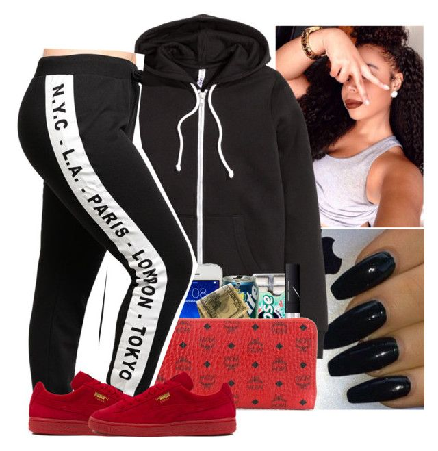"""""""💮💮"""" by wavyjai ❤ liked on Polyvore featuring H&M, NARS Cosmetics, MCM and Puma"""