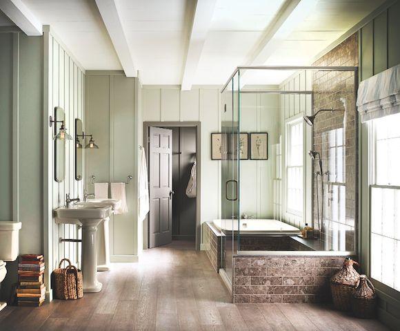 Dual Shower Heads Walk In Closet Off Bathroom Glass Shower Walls