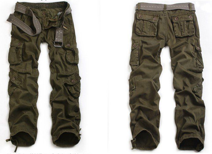 Beautiful Womens Army Green Baggy Loose Cargo Pants Wide Boyfriend Combat