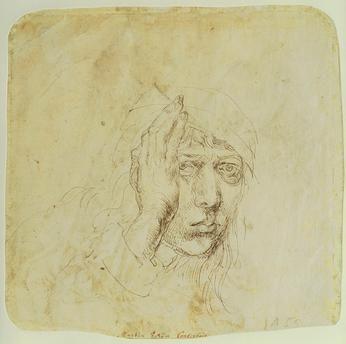 "Albrecht Dürer - ""Autoportrait vers 20 ans"", v. 1490–94."