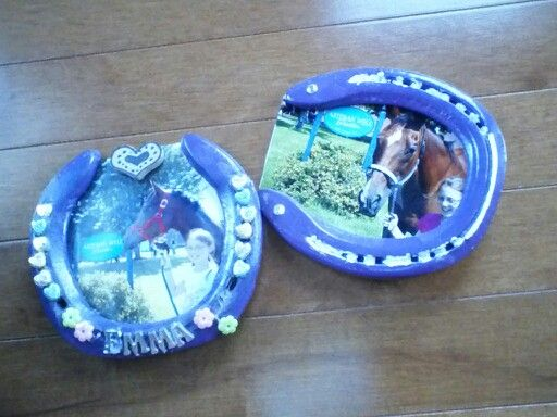 Horseshoe picture frames! Made these at horse camp. Soak old horseshoes in vinegar and scrub, then glue a photo to the back and decorate!
