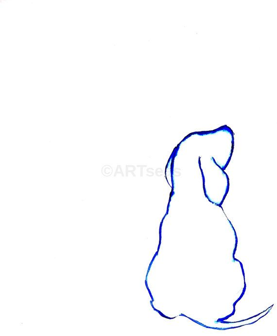 Ink Wash Abstract Minimalist Archival Art Print  Blue by ARTseas. When we rescued our beagle, she was shaped like that.