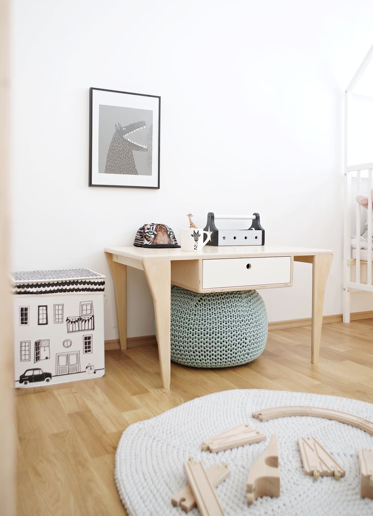 Scandinavian boy's room! Meet our play table BIFF with colored drawer / Project and execution by Wood Republic / #design #interior #scandi #scandinavian #wood #wooden #plywood #furniture #modern #natural #minimalist #white #vintage #table #bedside #play #kidsroom #kid #kids #teen #room #boy #playground