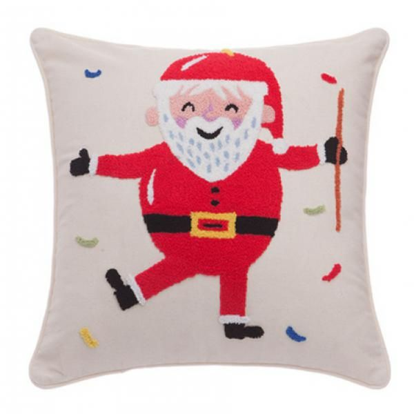 Lovely Santa Claus Pillow For Home Decorwhite Embroidered Throw Pillows Clauspenguin And Hippo Three Style Can Choose