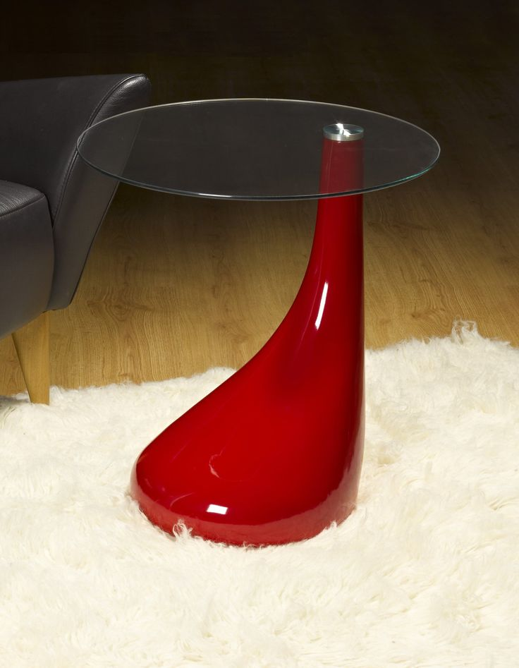 Side Table End Lamp Round Red Gloss