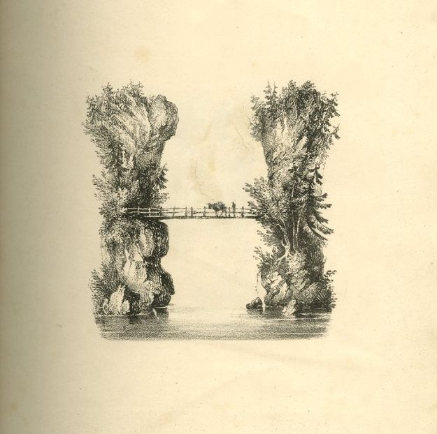 With 'H', a bridge forms the body. | This Illustrated Alphabet From The 19th Century Is Beautiful Enough To Frame