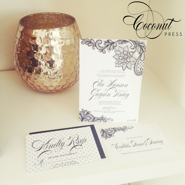 Black & White Lace Wedding Invitations - Invitations & Design by Coconut Press
