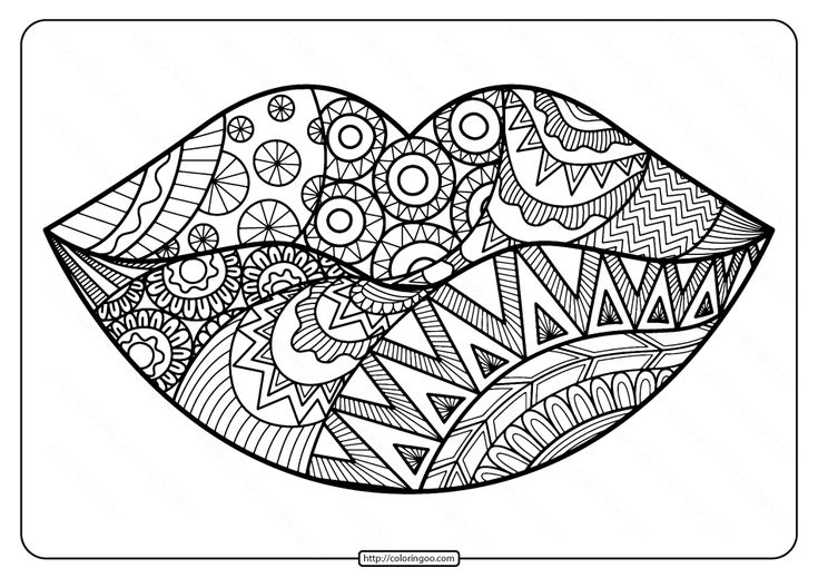 Free Printable Zentangle Lips Pdf Coloring Page Love Coloring Pages Coloring Pages Mandala Coloring Pages