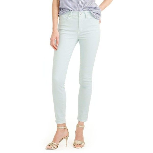 Women's J.crew Lookout High Waist Garment Dyed Crop Jeans ($98) ❤ liked on Polyvore featuring jeans, aqua haze, stretchy high waisted jeans, high rise white jeans, stretch jeans, stretchy jeans and white high-waisted jeans