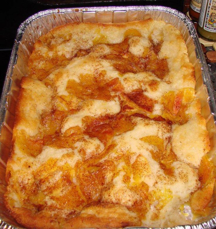 Ingredients 1 1/2 cup self-rising flour 8 tablespoon (1 stick) butter 1/2 cup water 2 cup sugar, divided 4 cup peeled, sliced peaches 1 1/2 cup milk ground cinnamon, optional How to make it Preheat oven to 350 degrees. Combine the peaches, 1 cup sugar,
