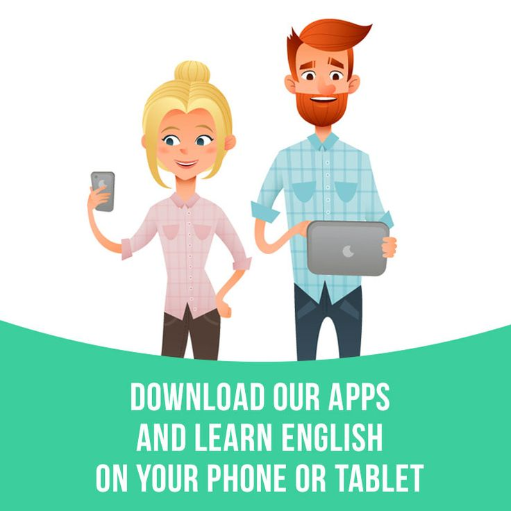 """Download our apps and learn English on your phone or tablet. Try it now: 1. Go on learzing.com 2. On the website choose the topic you would like to learn (for example, """"Slang""""). 3. Download an app for iOS or Android. Or just search for """"Idiom Land"""", """"Phrasal Cards"""" or """"Slang Cards"""" on the app store."""