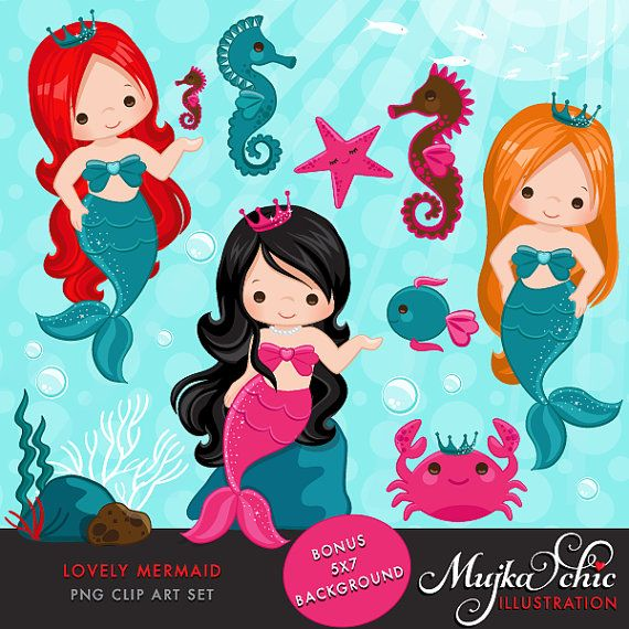 Lovely Little Mermaid Clipart & Under sea graphics- Commercial Use Instant Download Mermaid Graphics