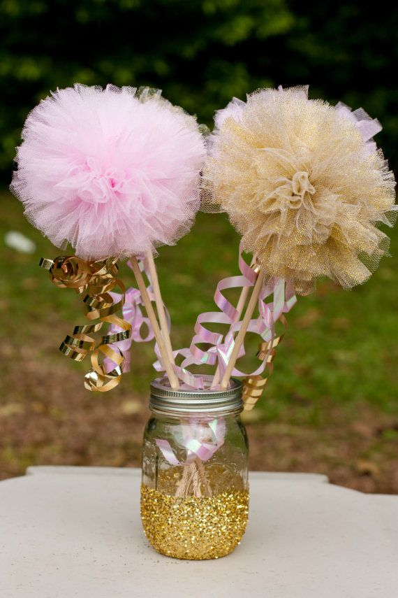 Princess Party Pink and Gold Pom Pom Wands Set of by GracesGardens
