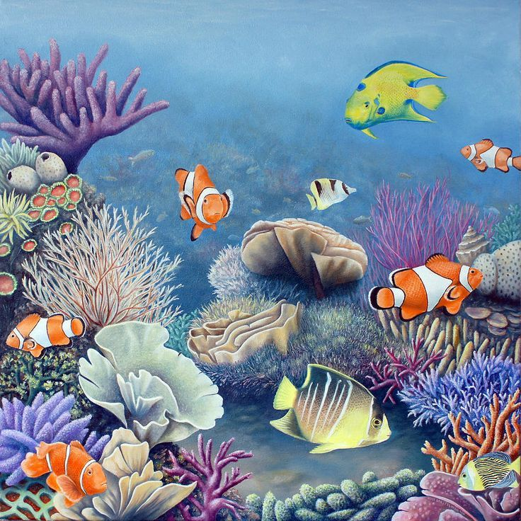 Image Result For Ocean Fish On Canvas Coral Painting Underwater Painting Fish Painting