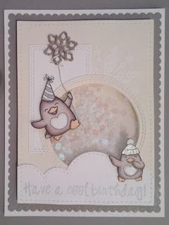 Waddles Happy Brrr-thday shaker card for Your Next Stamp's Sketch and Color Challenge