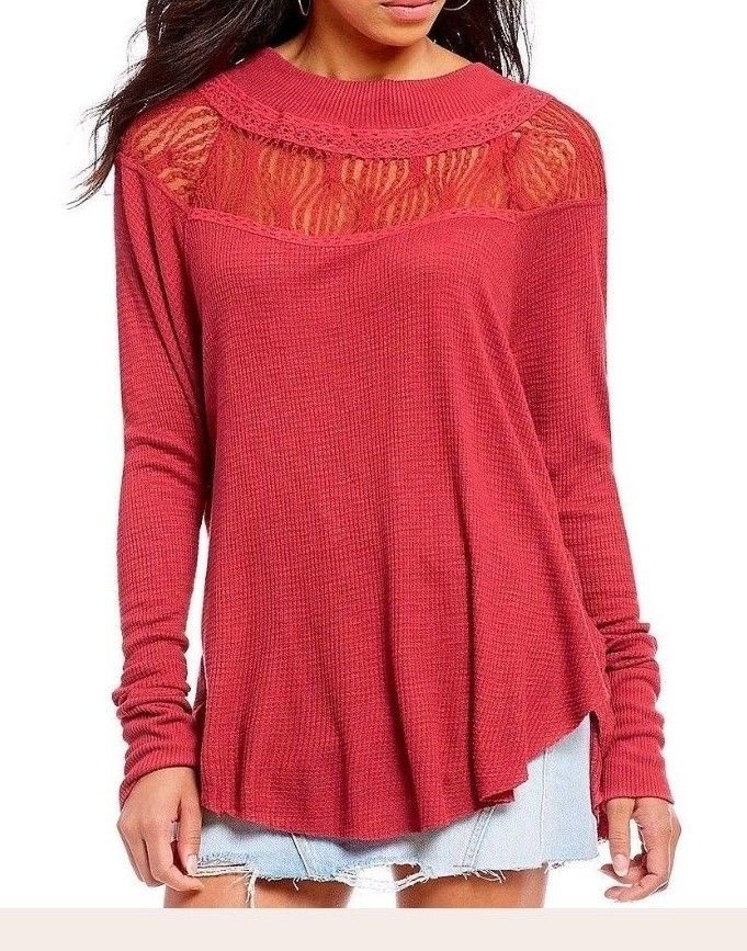 2b3ace9d2 Free People Spring Valley Top Oversized Dolman Thermal Lace Shirt Cochineal  M #FreePeople #Blouse