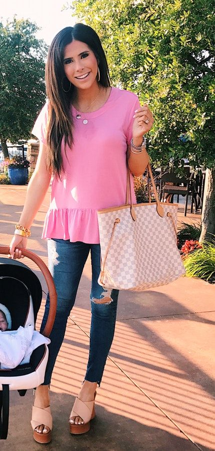 #summer #outfits Pink Peplum Top + Destroyed Skinny Jeans + Gingham Tote Bag
