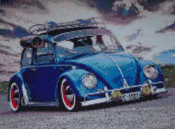 Blue Car Diamond Painting Finished Completed Wall Decor