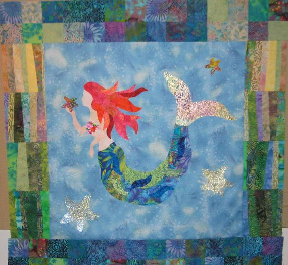 The Mermaid raw edge applique and pieced by DebraHarryArtQuilts, $9.50