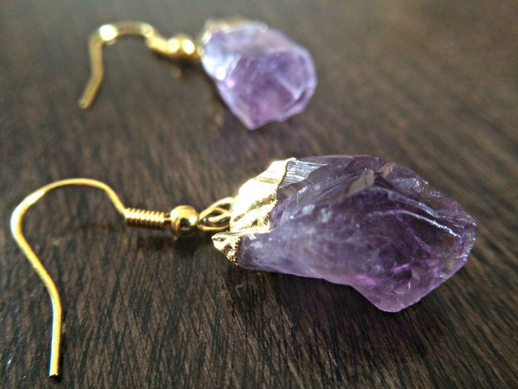 Raw Amethyst Earrings Druzy Natural Geode Jewelry Crystal Earrings Boho Bride Wedding Birthday Gift Minimalistic Gift