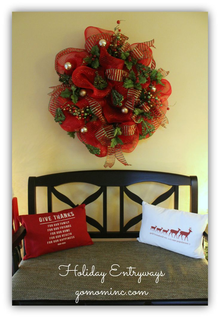 I'm in love with RedEnvelope's Personalized Pillows this year! Ideas for Holiday Entryways #PFDecorates