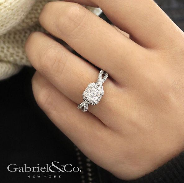 Gabriel & Co.-Voted #1 Most Preferred Fine Jewelry and Bridal Brand.  Gorgeous 14k White/Rose Gold Princess Cut Halo Engagement Ring. YES PLEASE.