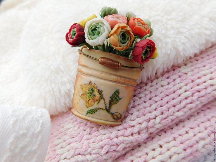 Купить Брошь Целое ведро лютиков - брошь ручной работы, брошь с цветами, букет цветов