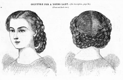 1860s full braided hair style...I did this and succeeded, now can I have my long hair back to try again. -.-