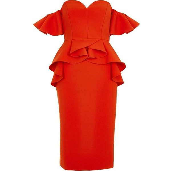 River Island Red sweetheart neck bardot frill midi dress (£99) ❤ liked on Polyvore featuring dresses, bardot & bandeau dresses, red, women, red sweetheart dress, ruffle bodycon dress, short sleeve midi dress, red dress and bandeau midi dress