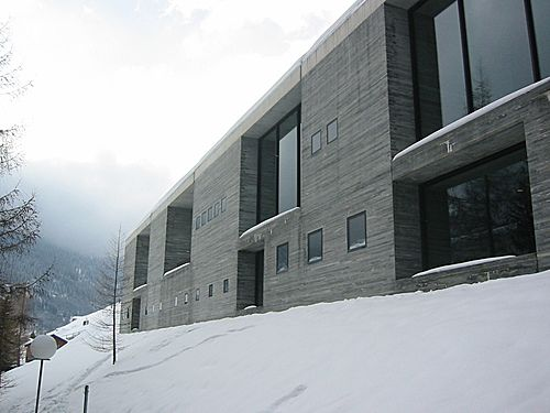Thermal Baths, Vals, Switzerland by Peter Zumthor  Made of concrete and quartzite.