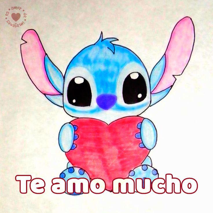 Bonito Dibujo A Mano De Stitch Con Frase Te Amo Mucho Dibujos Kawaii Dibujos Tiernos A Lapiz