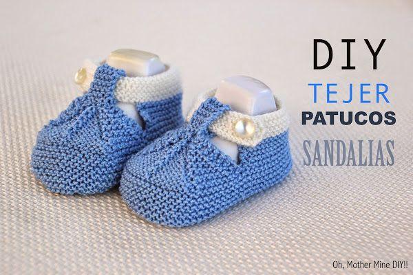 DIY Cómo tejer patucos sandalias bebe con dos agujas | Aprender manualidades es…