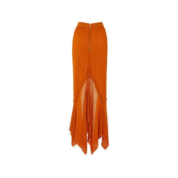 Kitx     Drop Long Knit Skirt ($550) ❤ liked on Polyvore featuring skirts, long knit skirt, orange maxi skirt, long asymmetrical skirt, long pleated skirt and long orange skirt